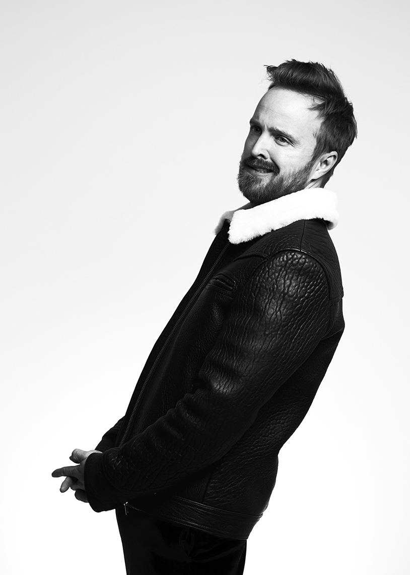 Aaron Paul black and white portrait