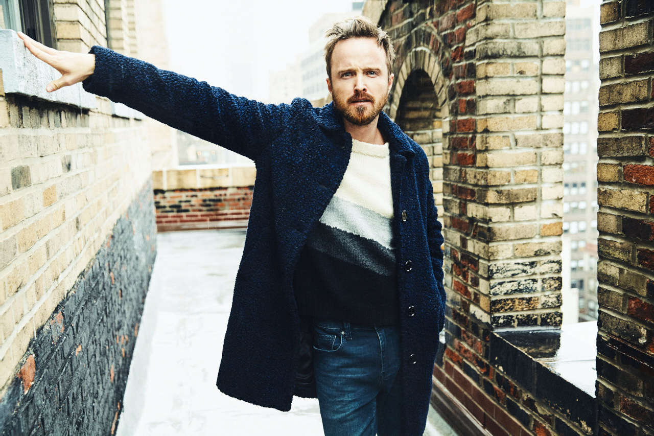 Actor Aaron Paul rooftop portrait