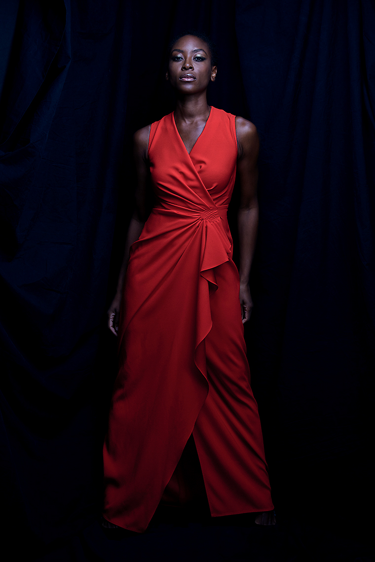 Portrait of actress Tracy Ifeachor red dress